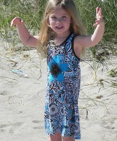 This Turquoise & Chocolate Floral Racerback Dress - Toddler & Girls is perfect! #zulilyfinds