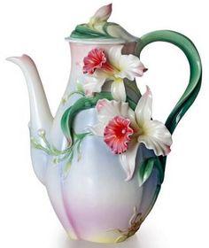 Franz collection sculptured porcelain tea-for-two orchid teapot