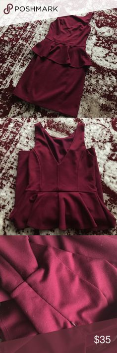 Eight Sixty Peplum Dress Maroon peplum dress. V neck in the back. Side zip. Some west on the zipper otherwise great condition. Worn for a Miss America local interview. Eight Sixty Dresses Midi