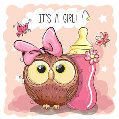 Owl Cartoon, Cute Cartoon, Girl Outlines, Baby Girl Shower Themes, Color Rosa, Baby Crafts, Portfolio, Watercolor Paintings, Birthday Cards