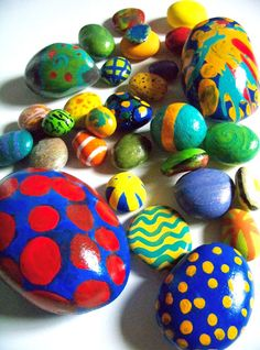 Painted egg rocks. They last forever! They can be a great tool for a living mandala after a yoga kids session!