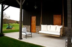 porch swing and barn doors. for under the porch? Outdoor Sofa, Outdoor Spaces, Outdoor Living, Outdoor Furniture Sets, Outdoor Decor, Pvc Furniture, Outdoor Ideas, Dream Barn, My Dream Home