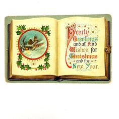 Antique Christmas Wishes Postcard by EstrangedEphemera on Etsy