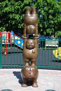 #Bronze #sculpture by #sculptor Ben Greenwood titled: 'Handstand (Lighthearted Amusing abstract Minimalist Children statue)'. #BenGreenwood