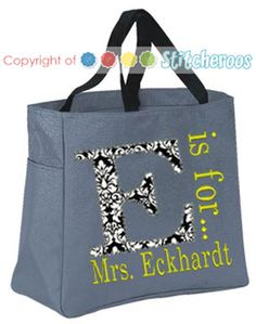 T is for Teacher Tote bag, $16.00 Personalized by Stitcheroos