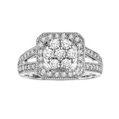 Love Always Round-Cut Diamond Engagement Ring in Platinum Over Silver (3/4 ct. T.W.)