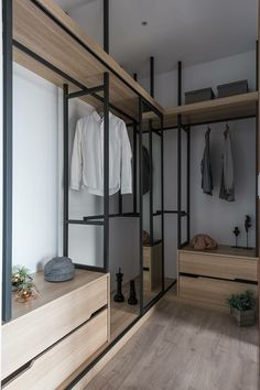 Paint white ikea closet units the poles black - Modern Walk In Closet Design, Bedroom Closet Design, Master Bedroom Closet, Closet Designs, Bedroom Black, Bathroom Closet, Walking Closet, Bedroom Wardrobe, Wardrobe Closet