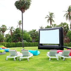 An outdoor movie night isn't just an event fit for parks - you can set up a DIY backyard movie theater of your own! Backyard Movie Theaters, Backyard Movie Nights, Outdoor Movie Nights, At Home Movie Theater, Home Theater Design, Outdoor Movie Screen, Outdoor Cinema, Outdoor Theater, Outdoor Projector