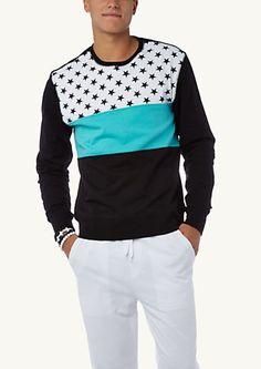 image of Starry Mint Color Block Sweatshirt