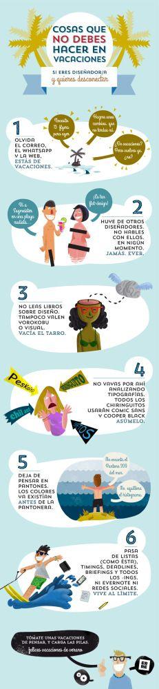 Cosas que un diseñador no debe hacer en vacaciones #infografia #infographic #design