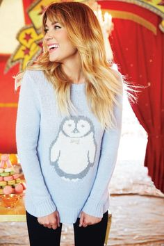 Lauren Conrad penguin sweater I have the same sweater except it is a fox! Got it @ kohls!!! There are actually fake diamonds on the bows!