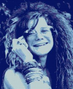 Janis Joplin Cross Stitch portrait PDF - EASY chart with one color per sheet And traditional chart! Two charts in one! by HeritageChart on Etsy