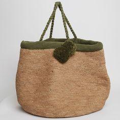 Kakhi bag with pompom handmade