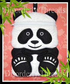 Panda Zippered Bag!  **xxx vip pes jef hus exp dst sew Formats** ITH In The Hoop Zippered Bag Machine Embroidery File