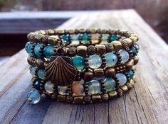 Beachy Bohemian Multi Coil Memory Wire Bracelet by McHughCreations