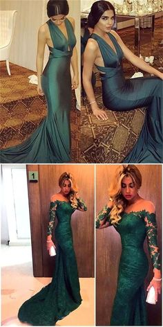 Charming Green Mermaid Long Formal Sexy Prom Dress, Evening Party Dress, PD0310