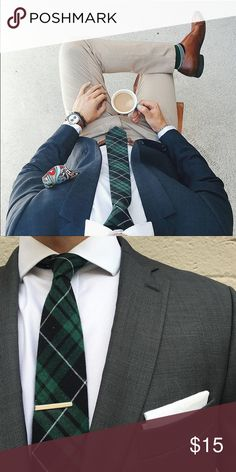 Green Plaid Tie + Brown Floral Pocket Square NWT Plaid Tie and a free pocket square! See second photo for image. Sprezza Accessories Ties
