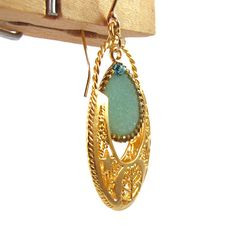 Ethnic Gold Earrings Light green mint drop by SigalitAlcalai, $60.00