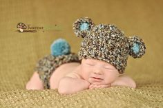 Too Cute!!! I want this outfit for a newborn pic of Carson!  Newborn Baby Boy Hat in Brown Blue and Tan  Bear Hat by EcoStreet, $29.00