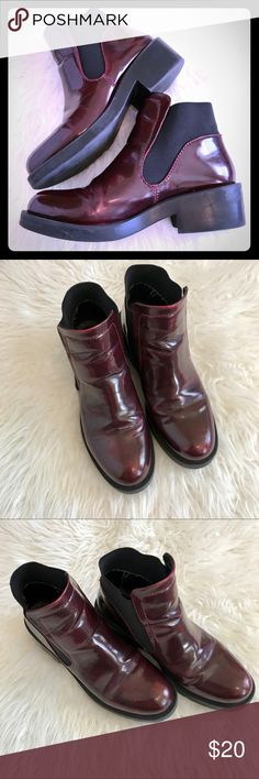 Zara boots, 10. These handsome boots by Zara are perfect for fall and winter. Pull them on for all day comfort in rain or chilly weather. They have an elevated rubber sole to keep you comfortable. They are a tad small on me. Size 10. Zara Shoes