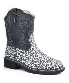 Take a look at this Black Leopard Chunk Riderlite2 Cowboy Boot - Women by Roper on #zulily today!