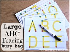 5 Dry Erase Busy Bag ideas - LOVE the green and red dots indicating stop and go! **i need to find cursive since that's what Zander is learning. Quiet Time Activities, Preschool Activities, Prek Literacy, Daycare Curriculum, Vocabulary Activities, Preschool Worksheets, Homeschooling, Abc Tracing, Tracing Letters