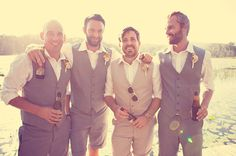 Shorts can also be incorporated into a backyard, barn wedding theme with the grooms, groomsmen, and even the bridesmaids attire.