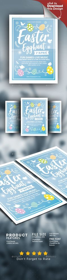 bunny, carnival, children, colorful, dust, easter, egg, egg hunter, event, fest, festival, flyer, holiday, hunter, illustration, kids, kindergarten, rabbit, template, vector Easter Egg Hunt Flyer Soft style and unique flyer, poster, invitation design for your next event. Easy to modify, change colors, text.   	Featured  A4 Size (210×297mm)+bleed   100% CMYK print Ready 300 Dpi   Psd File   Well Organized Layer   Full Editable Text  Font Used  >Good Vibes ChunkFive Ex Roboto  Please Rate ...