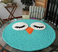 Baby T-shirt yarn carpet, Búho model: Rug - Baby rug - Round carpet - Trapillo rug - Crochet rug - Owl rug - TShirt yarn rug - kids rugs Discover thousands of images about Alfombra infantil de trapillo modelo Búho: Alfombra Crochet rug pattern crochet b Crochet Rug Patterns, Crochet Mandala, Crochet Doilies, Crochet Lace, Owl Rug, Tshirt Garn, Baby T Shirts, Rug Yarn, Crochet Carpet