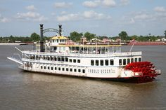 The Creole Queen steamboat on the Mississippi river.