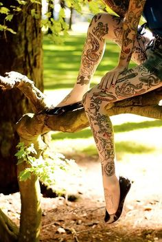 Limbs. Some tattooed.  Some not.  #tattoo #ink #art