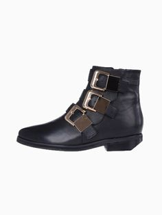 567ba4bc9456 Ankle boots with gold buckle detailing