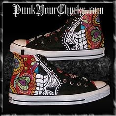 Mexican Day of the Dead Hand Painted Converse Hi Tops Painted Converse, Painted Canvas Shoes, Custom Painted Shoes, Painted Sneakers, Custom Converse, Converse Sneakers, Custom Sneakers, Painted Clothes, Custom Vans