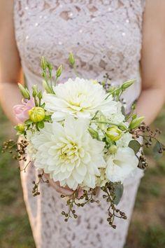 White wedding bouquet idea - white + greenery bouquet with lush dahlias {J&J Photography}