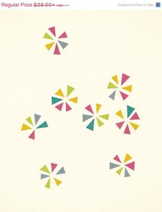 SALE 25% OFF Geometric Art, Abstract, Pattern, Minimalist Decor, Colourful Decor, Turquoise, Hot Pink, Lime Green, Yellow, Giclee Print - Co...