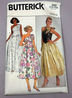Butterick 3582  Dramatic 1980s Glam Evening Gown  by Clutterina