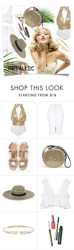 """You're Golden: Metallic Swimwear"" by kari-c ❤ liked on Polyvore featuring Flagpole, Max&Co., Whistles, Nadri, Clinique and metallicswimwear"