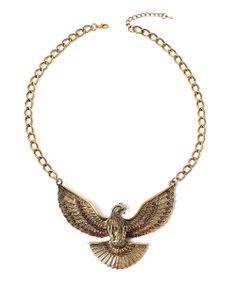 Gold Rhinestone Eagle Pendant Necklace