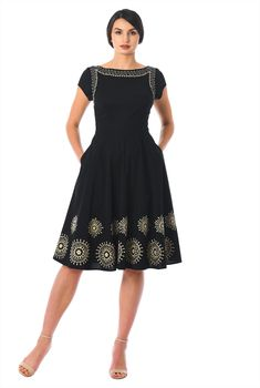 online shopping for eShakti Women's Graphic Floral Embellished Poplin Dress from top store. See new offer for eShakti Women's Graphic Floral Embellished Poplin Dress Poplin Dress, Chiffon Dress, Casual Dresses, Fashion Dresses, Dresses For Work, Off Shoulder Lace Dress, Classy Wear, Custom Dresses, Classic Outfits