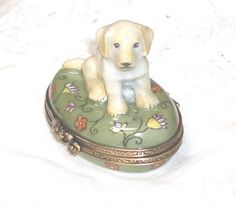 GR Limoges Yellow Labrador Retriever Puppy on Flower Oval Trinket Box