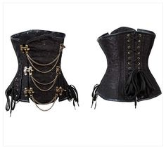 Chain and Latch Steampunk Steel Boned Underbust Corset - Brown, Black
