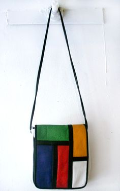 "Vintage ""Mondrian"" Leather Purse $42"