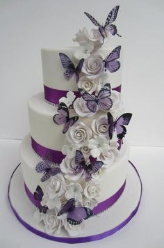 Purple butterflies & white roses cake