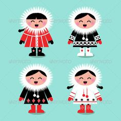 Cute eskimo kids group isolated on white - vector - Christmas Seasons/Holidays