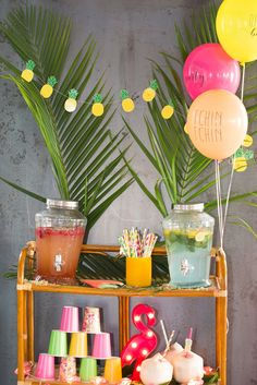 tropical party limonadier jus cocktail flamant rose ananas