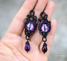 Purple Dragon's eye goth wire wrapped earrings by Ianira on Etsy