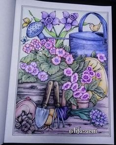 Adult Coloring Pages, Coloring Sheets, Childhood Images, Creative Haven Coloring Books, Spring Scene, Johanna Basford, Color Pencil Art, Country Charm, Colorful Garden