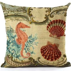 Beige Cushion Cover Simple Whale starfish Pattern Cotton Linen Pillow Cover Cushion Cover Pillow cases Home Almofadas Cojines