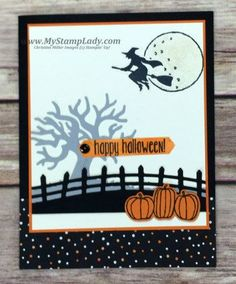 Stampin' Up! Spooky Fun Holiday Catalog from www.mystamplady.com Halloween Scene, Halloween Items, Halloween Cards, Fall Halloween, Christmas Cards To Make, Holiday Cards, Thanksgiving Cards, Fall Cards, Kids Cards