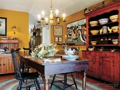 Moving Forward: Give a newly built home country character with rustic furniture and favorite collections of antiques and accessories. (Photographed and styled by Franklin & Esther Schmidt)